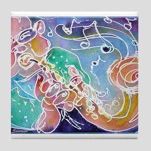 Music! Fun, colorful, sax! Tile Coaster