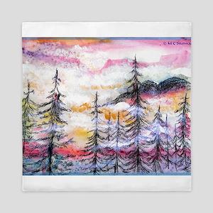 Landscape, colorful art! Queen Duvet