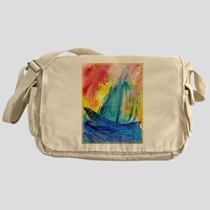 sailboat! Colorful art! Messenger Bag