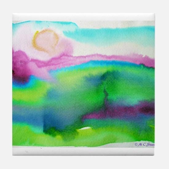 landscape, colorful art! Tile Coaster
