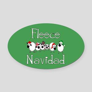 Fleece Navidad Oval Car Magnet