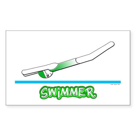 Swimmer (Girl) Green Suit Rectangle Sticker