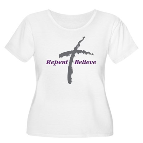 Repent Believe Women's Plus Size Scoop Neck T-Shir