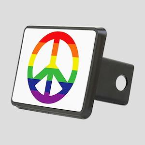 Big Rainbow Stripe Peace Sign Rectangular Hitch Co