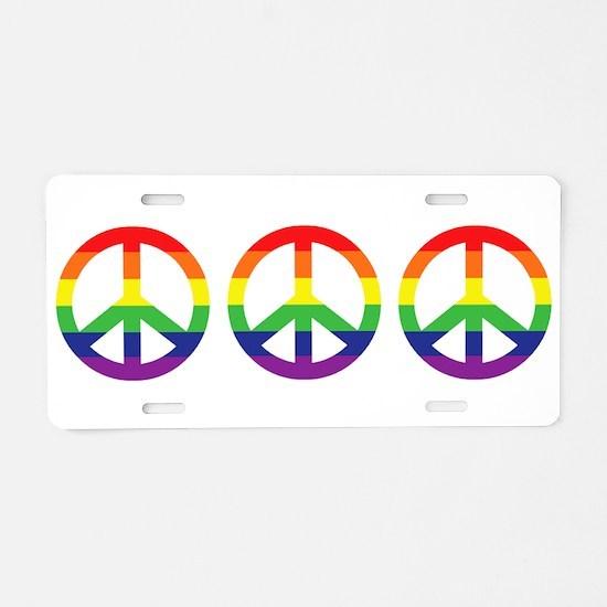 Big Rainbow Stripe Peace Sign Aluminum License Pla