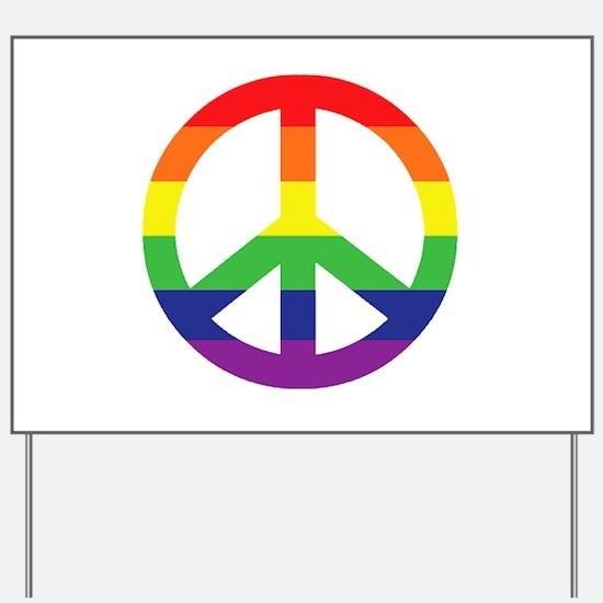 Big Rainbow Stripe Peace Sign Yard Sign