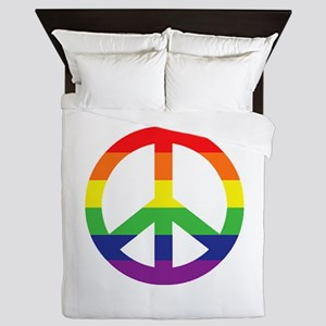 Big Rainbow Stripe Peace Sign Queen Duvet