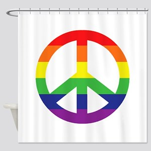 Big Rainbow Stripe Peace Sign Shower Curtain