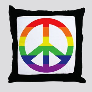 Big Rainbow Stripe Peace Sign Throw Pillow