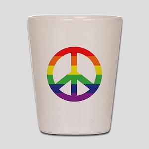 Big Rainbow Stripe Peace Sign Shot Glass