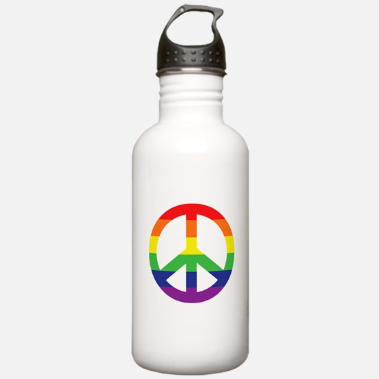 Big Rainbow Stripe Peace Sign Water Bottle
