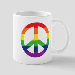 Big Rainbow Stripe Peace Sign Mug