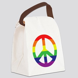 Big Rainbow Stripe Peace Sign Canvas Lunch Bag