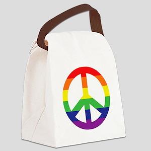 Big Rainbow Stripe Peace Sign Canvas Lunch Bag
