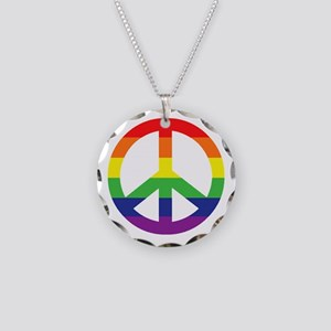 Big Rainbow Stripe Peace Sign Necklace Circle Char