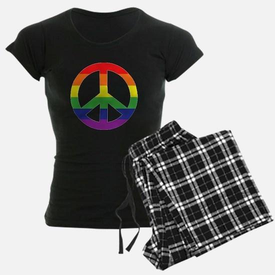 Big Rainbow Stripe Peace Sign Pajamas