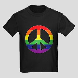 Big Rainbow Stripe Peace Sign Kids Dark T-Shirt