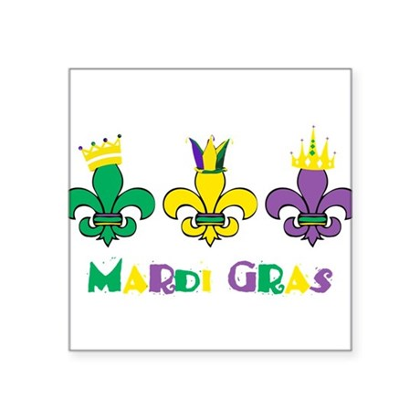 Mardi Gras Royalty Party New Orleans Square Sticke