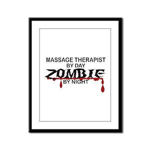 Massage Therapist Zombie Framed Panel Print