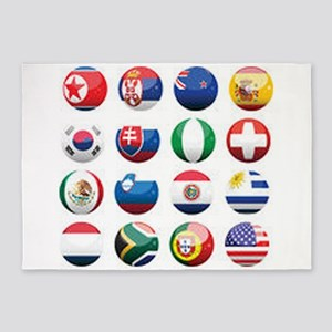 World Cup Soccer Balls 5'x7'Area Rug