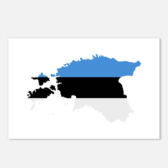 Estonia map flag Postcards (Package of 8)