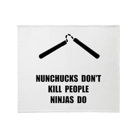 Nunchucks Ninja Throw Blanket
