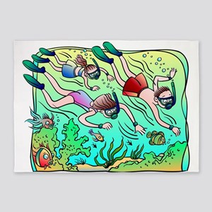 Scuba Divers 5'x7'Area Rug