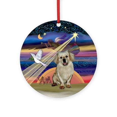 Xmas Star & Tibetan Spaniel (fawn Ornament (Round)