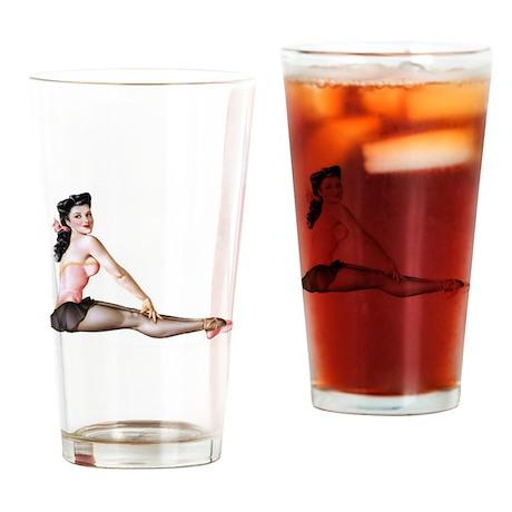 Pin Up Girl Dancer Drinking Glass