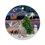 Xmas Magic & Whippet Ornament (Round)