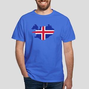 Iceland map flag Dark T-Shirt