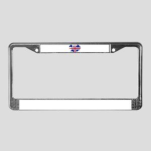 Iceland map flag License Plate Frame