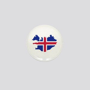 Iceland map flag Mini Button