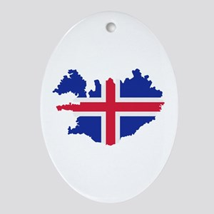 Iceland map flag Ornament (Oval)