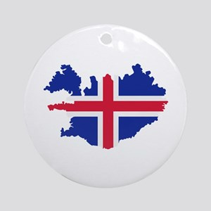 Iceland map flag Ornament (Round)