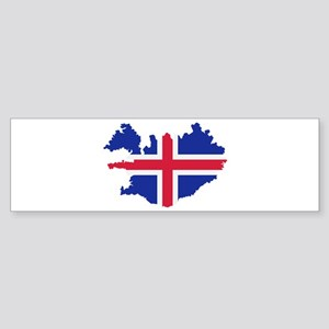 Iceland map flag Sticker (Bumper)