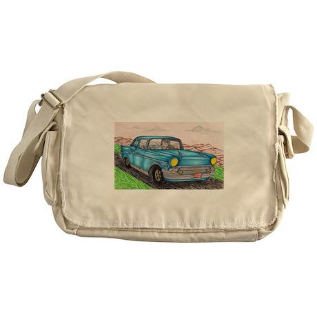57' Chevy Belair Original Drawing Messenger Bag
