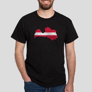 Latvia map flag Dark T-Shirt