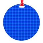 Blue Checkered Gingham Pattern Round Ornament
