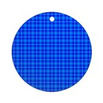 Blue Checkered Gingham Pattern Ornament (Round)