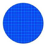 Blue Checkered Gingham Pattern Round Car Magnet