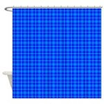 Blue Checkered Gingham Pattern Shower Curtain