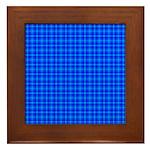 Blue Checkered Gingham Pattern Framed Tile