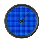 Blue Checkered Gingham Pattern Large Wall Clock
