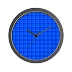 Blue Checkered Gingham Pattern Wall Clock