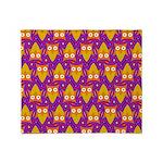 Orange Blue Owl Pattern Throw Blanket