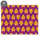 Orange Blue Owl Pattern Puzzle