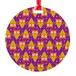 Orange Blue Owl Pattern Round Ornament
