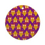 Orange Blue Owl Pattern Ornament (Round)