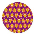 Orange Blue Owl Pattern Round Car Magnet